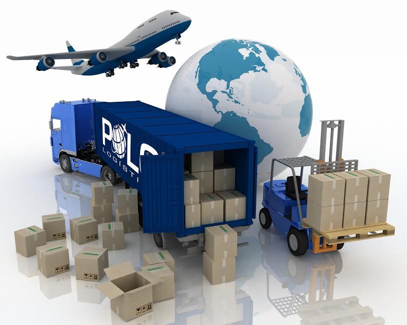Um avião e um caminhão com cargas e com o logo da Polo.